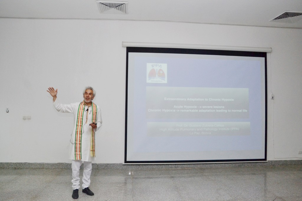 "Prof. Dr. Gustavo Zubieta conference on ""Extraordinary Adaptation to Chronic Hypoxia"" at AIIMS Jodhpur."