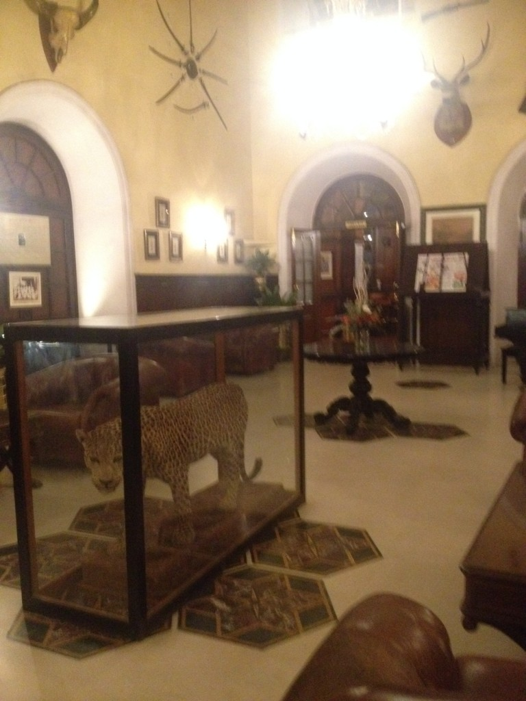 Bangalore Club Hall with the trophies gathered by the british
