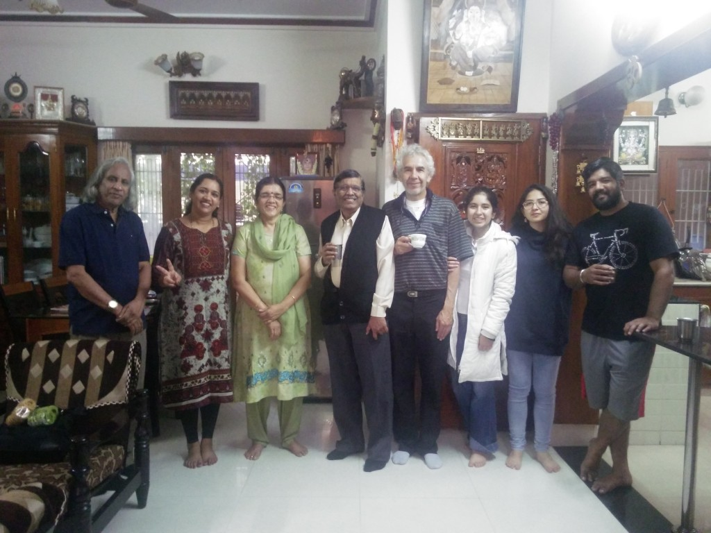 At Prof. Thuppil Venkatesh's residence sharing memorable moments with his family, his wife Prabha (in green), his daughter Archana (in red), his son Abihi (in black)