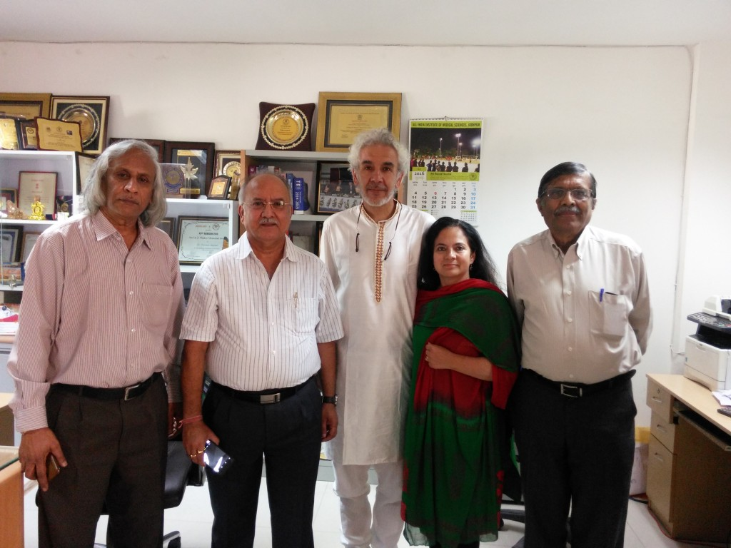 At Prof. Praveen Sharma Head of Biochemistry AiiMS- jodhpur in his office with Prof. Thuppil Venkatesh and Prof. Nanjundiaha Shashidhara