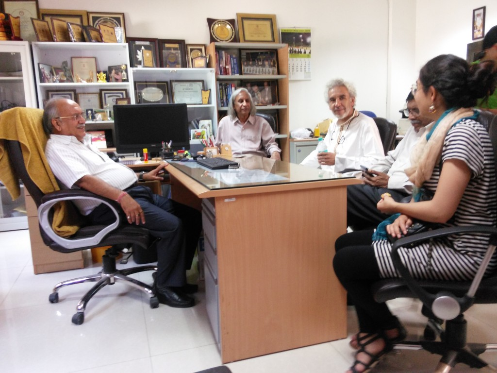 The Zubietas with Prof. Thuppil Venkatesh and Prof. Nanjundiaha Shashidhara at Prof. Praveen Sharma's office as Head of the Dept of Biochemistry, and Chief Editor of the Indian Journal of Clinical Biochemistry