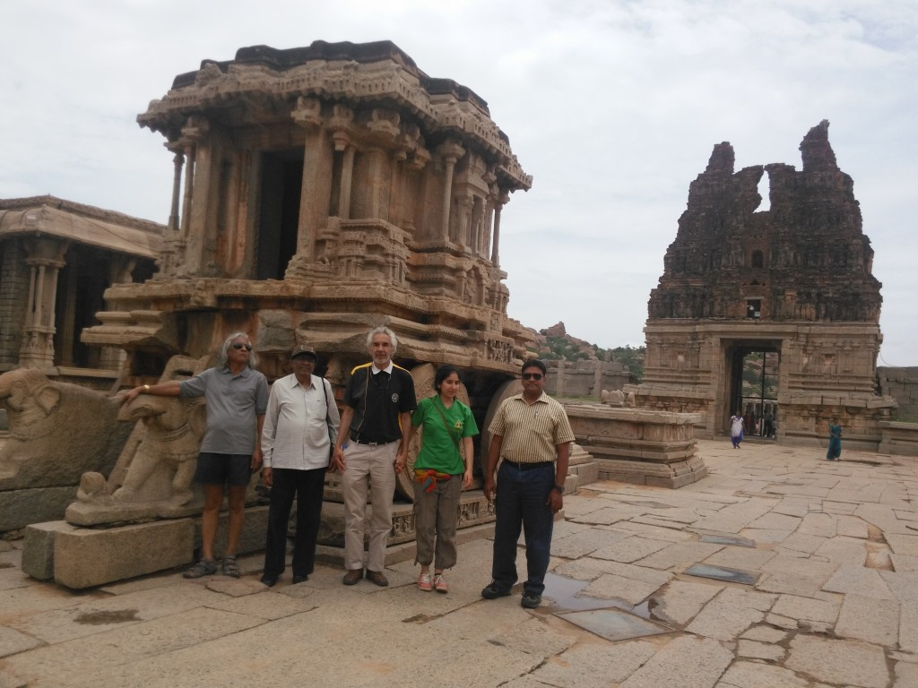 With the great Stone Chariot at Hampi . Prof. Thuppil Venkatesh, Prof. Shashidhara, Prof. Dr. Gustavo Zubieta-Calleja, Rafaela Zubieta, and our fantastic host and organizer of our visit to Belari and the conferences with Red Cross M.A. Shake.