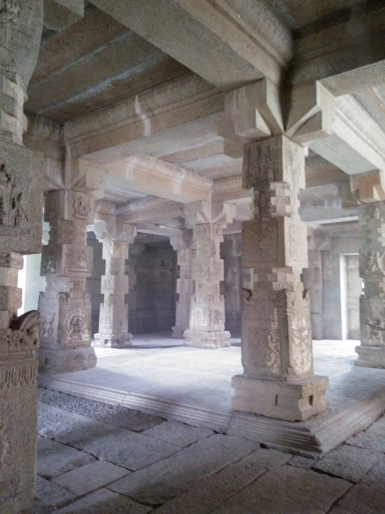 Inside one of the buildings at Hampi.