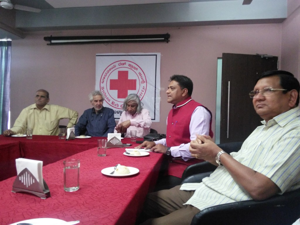 Breakfast meeting with the Red Cross officials kindly organized by K.V. Shakeeb. at Bellary.