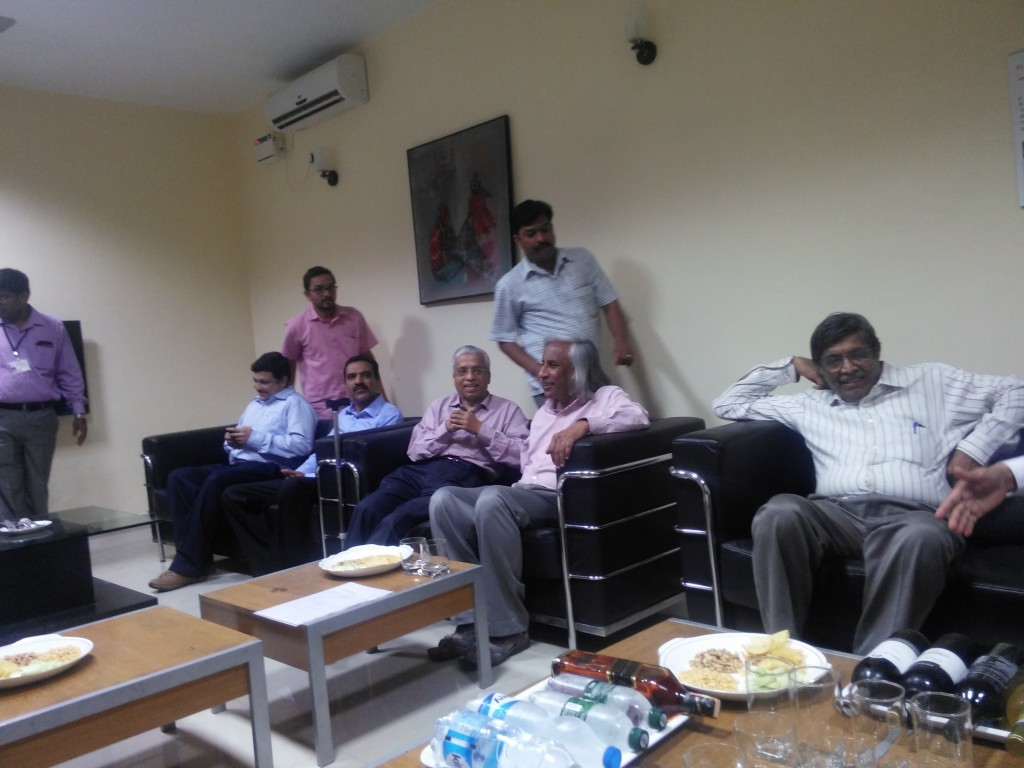 The reception with distinguished faculty  of BLDE. In the center is Prof. Kusal Das ,Right next to him on the right Prof. Thuppil Venkatesh and Prof. Nanjundiaha Shashidhara (at far right)