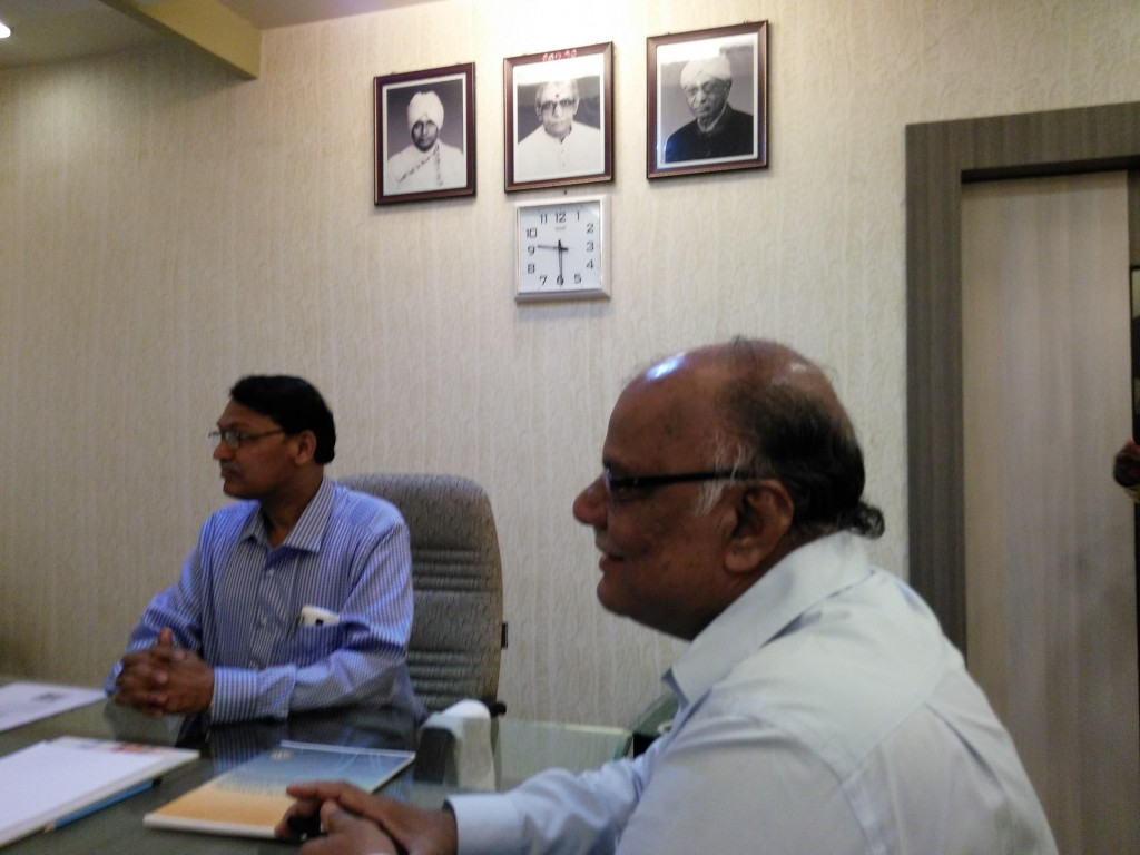 Meeting at Dr. Biramar's office with the presence of the Vice-Chancellor of BLDE University.
