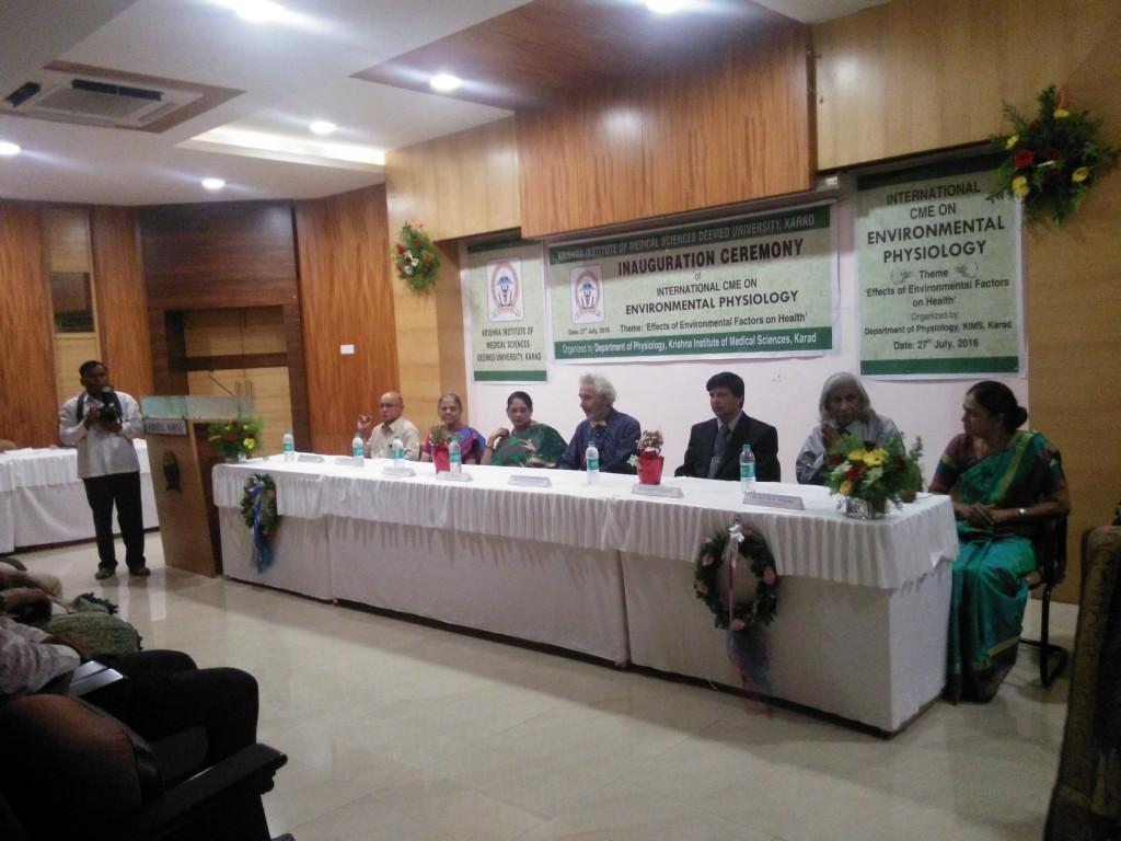 Inauguration ceremony of the Environmental Physiology conference at the Krishna Institue of Medical Sciences in Karad