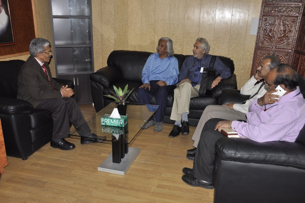 Sitting : Left to right; Prof. (Dr) Raghuveer, Hon. Vice Chancellor,Sri Devaraj Urs Academy Of Higher Education and Research, Dr Tuppil Venkatesh, Yourself, Prof. (Dr) AVM Kutty, Registrar,Sri Devaraj Urs Academy Of Higher Education and Research, Myself; Dr Shashidhar Professor and HOD Biochemistry, Sri Devaraj Urs Academy Of Higher Education and Research