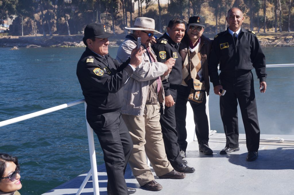 During the beautiful boat ride by the Bolivian Navy.