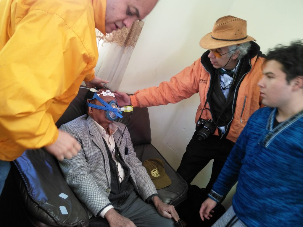 Performing tests at the Titicaca Lake with Dr. Jose Antonio Carmona and Yeshua Peña Y Lillo (medical student working with Prof. Dr. Gustavo Zubieta-Calleja. (photo courtesy of Lucrecia De Urioste)