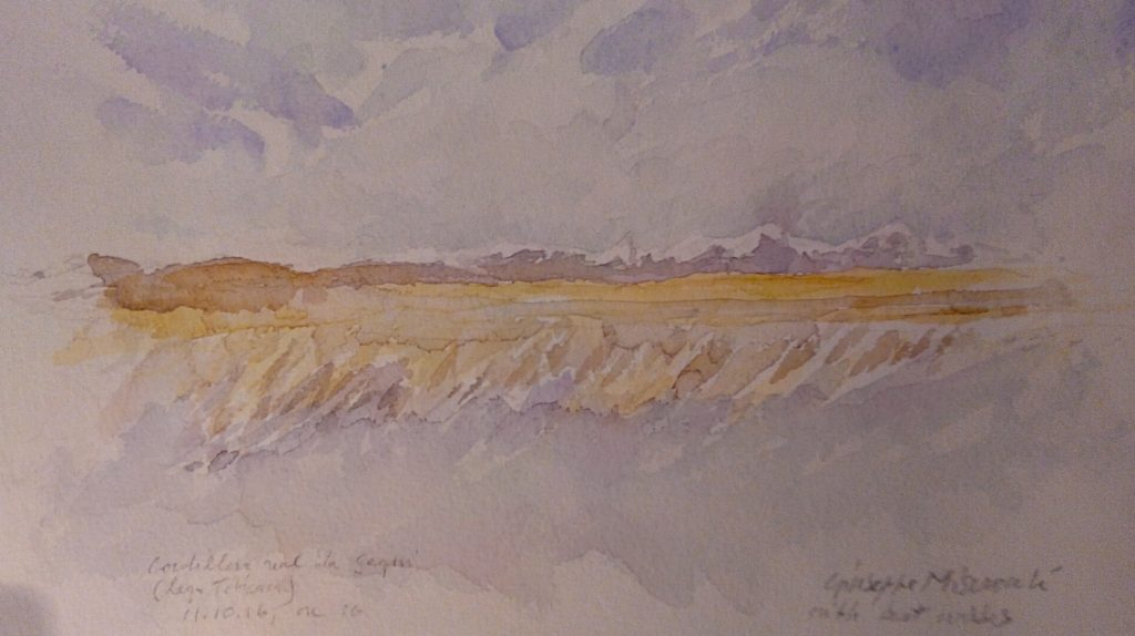 Watercolor painting of the andes Cordillera by Prof. Misserochi.