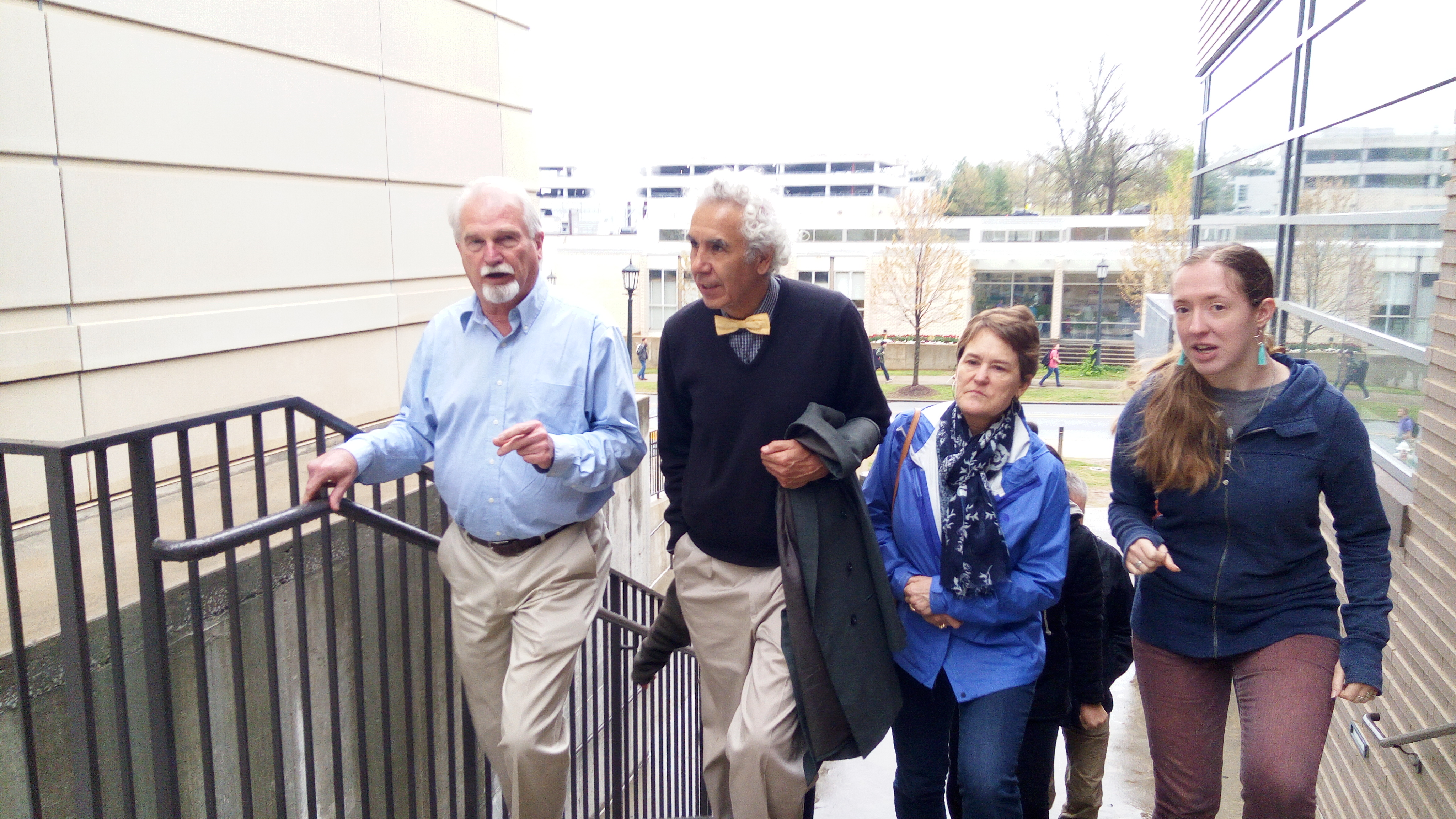 Entering the ARkansas Center for Sopace and Planetary Sciences. From Left Larry Roe, Director, Prof. Dr. Gustavo Zubieta-Calleja, Cindy Youngblood and Caitlin Ahrens pHd Student.