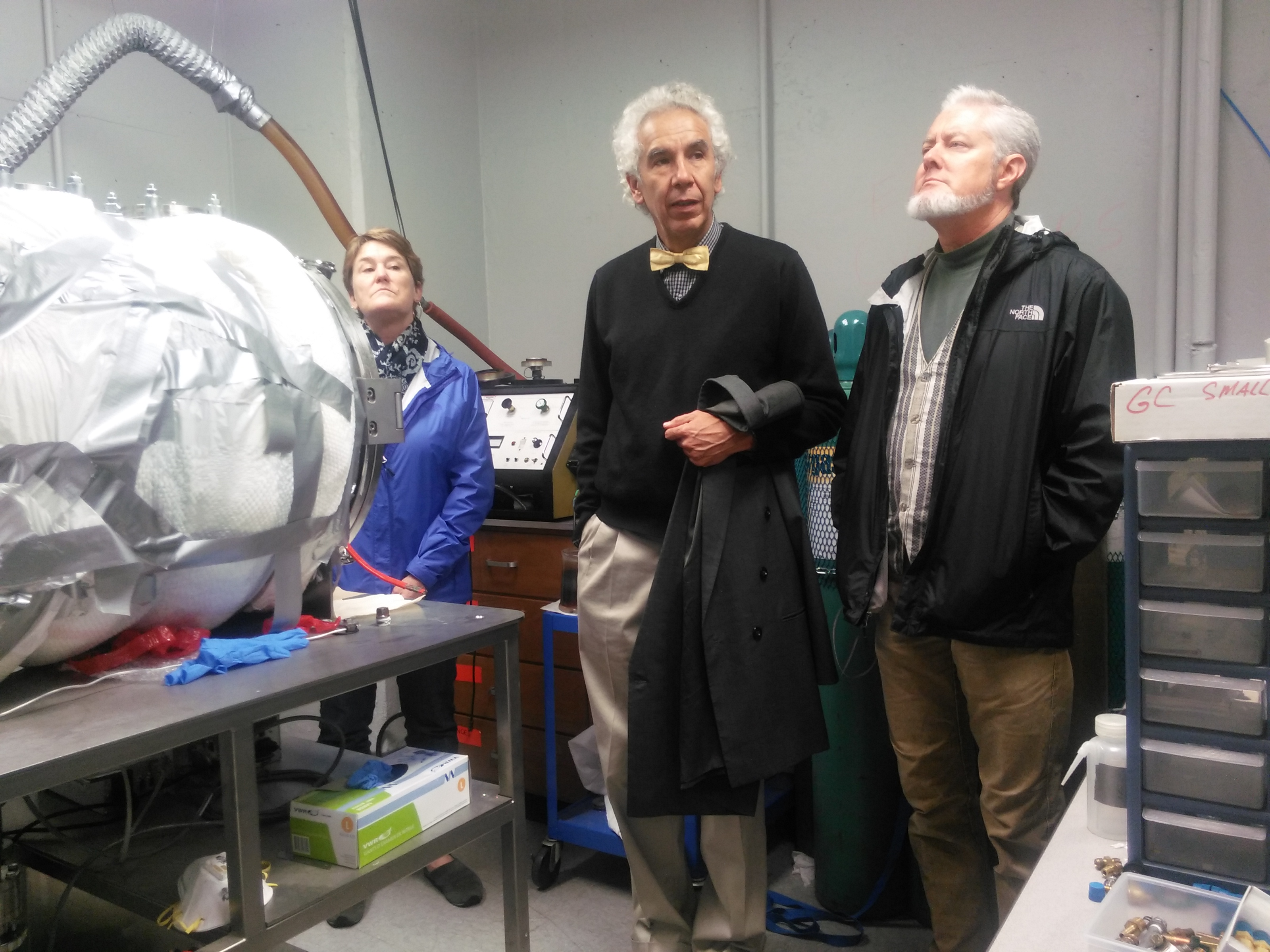 At the Arkansas Cneter for Spoace and Planetary Sciences. From Left: Cindy YOungblood, Dr. Gustavo Zubieta-Calleja and Dr. Tom Youngblood.