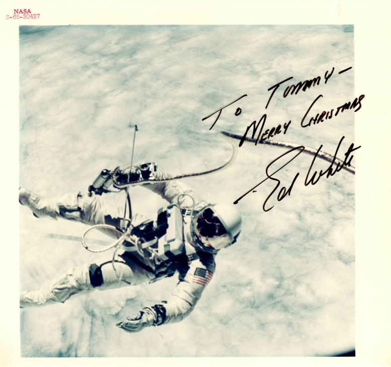 Historic autographed photo of astronaut Ed. White given to Dr. Tom Youngblood, as a child.