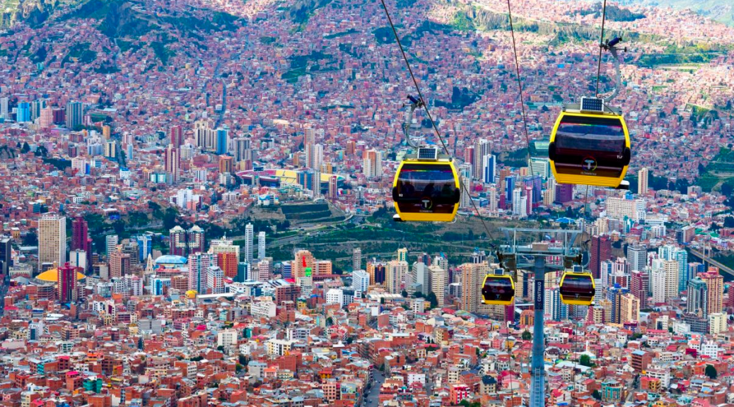 The Yellow line of the Telefericos in La Paz